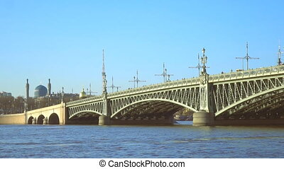 Troitsky drawbridge bridge across the Neva River in St. Petersburg.