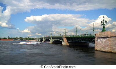 Troitsky drawbridge bridge across the Neva River in St....