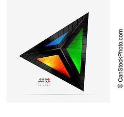trojúhelník, barvitý, abstraktní, -, geometrický tvořit