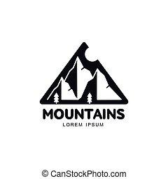 trojúhelník, slunit se, kopyto, hory, napsaný, krajina