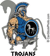 trojański, muskularny