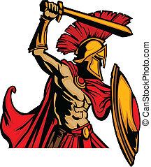 trojaan, mascotte, lichaam, met, zwaard, en, s