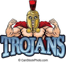 trojaan, sporten, spartan, mascotte