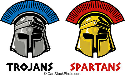 trojan and spartan helmet - Trojan and Spartan helmet