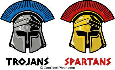 trojan and spartan helmet - Trojan and Spartan helmet