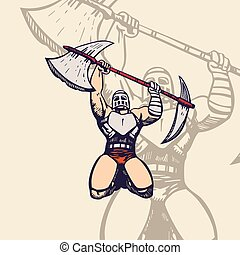 trojan army mascot. cartoon character Vector Illustration.