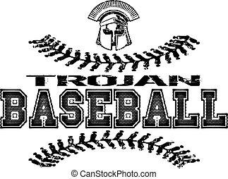 trojan baseball - distressed trojan baseball design with...