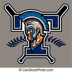 trojan baseball team design with mascot for school, college...