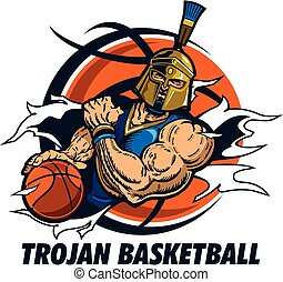 trojan basketball team design with player ripping through...