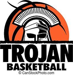 trojan basketball team design with mascot head inside...