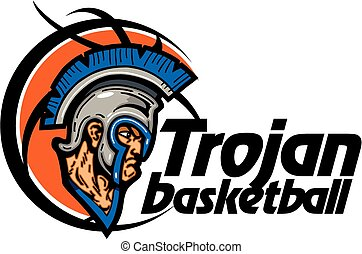 trojan basketball team design with mascot head inside...