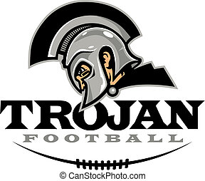 Trojan football design with helmet and half football