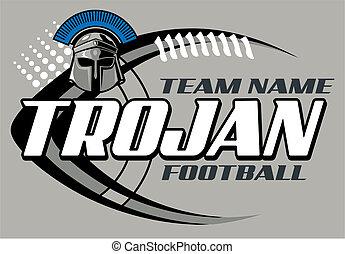 trojan football design with helmet and football