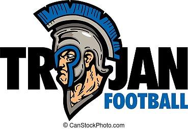 trojan football design with mascot and helmet