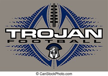 trojan football team design with helmet and ball for school,...