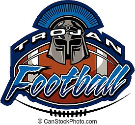 trojan football team design with helmet and laces for...