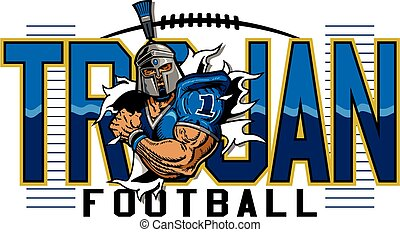 trojan football team design with mascot player for school,...