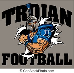trojan football team design with mascot player ripping...