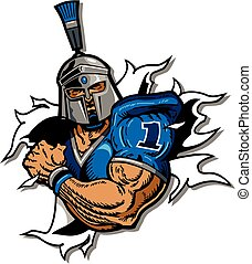 trojan football team design with player ripping through the...
