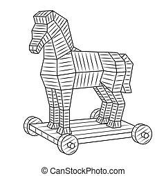 Trojan horse coloring book vector