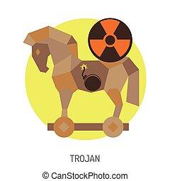 Trojan Horse Icon - Cyber Crime Concept with Trojan Horse...