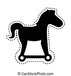 trojan horse silhouette isolated icon