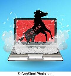 trojan horse virus computer destroy laptop