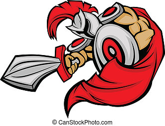 Trojan Mascot Body with Sword and S