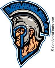 trojan mascot head wearing helmet with crest