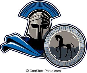 trojan mascot team design with helmet and shield for school,...