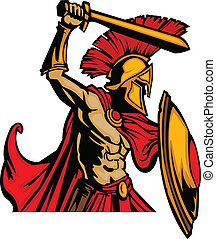 trojan, mascota, cuerpo, con, espada, y, s