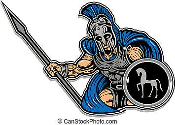 trojan, protector, lanza