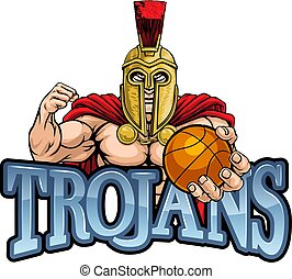 Trojan Spartan Basketball Sports Mascot