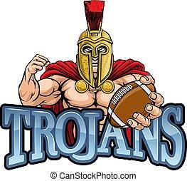 trojan, spartan, football, sport, americano, mascotte
