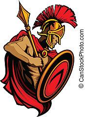 trojan, spartan, lanza, mascota