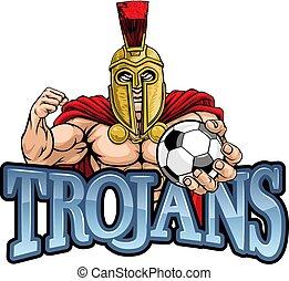 Trojan Spartan Soccer Football Sports Mascot