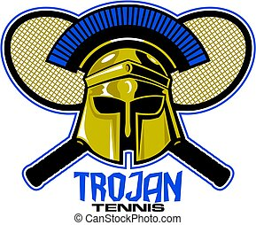 trojan tennis team design with mascot helmet and crossed racquets for school, college or league