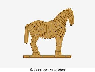 trojan, troops., militar, illustration., griego, caballo, ...