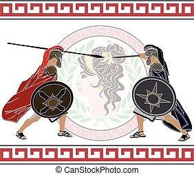 trojan war. fourth variant. vector illustration