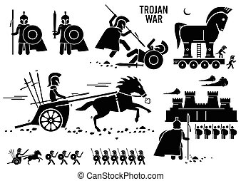 Set of human pictogram representing the Trojan war historical event. The Trojan warriors use shield, sword, pike, spear, and chariot to kill their enemy. They siege the castle, and also use the Trojan Horse to infiltrate the enemy castle.