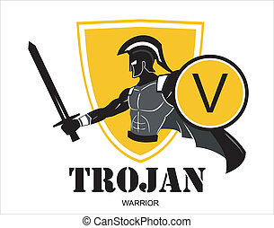 trojan warrior over the yellow shie