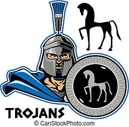 trojan with shield - closeup trojan holding a shield