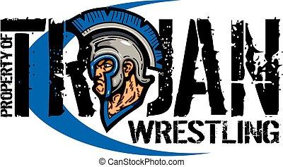 trojan wrestling team design with mascot for school, college...
