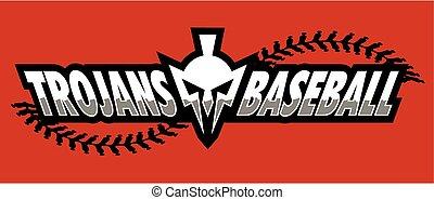trojans baseball team design with mascot helmet for school, college or league