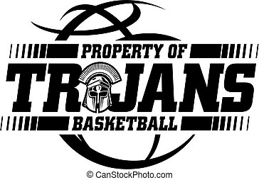 trojans basketball team design with ball and mascot helmet for school, college or league