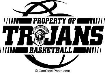 trojans basketball team design with ball and mascot helmet ...
