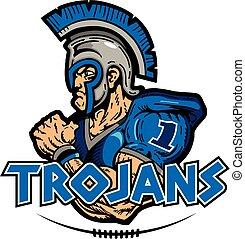 trojans football design with muscular mascot