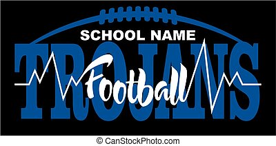 trojans football team design with heartbeat and laces for school, college or league