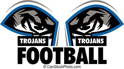 trojans football team design with mascot eye black for...