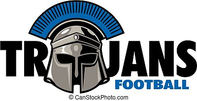 Trojans football design with helmet
